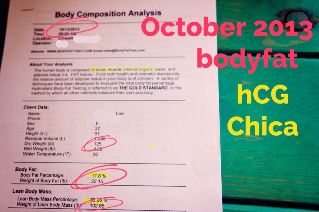 October 2013 Body Fat Test - 1 year after hCG - hcgchica.com